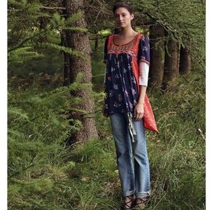 Anthropologie Floreat Embroidered Boho Top Size 8